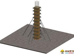 工艺质量样板族文件:方柱模板支设工艺样板做法rfa格式免费下载