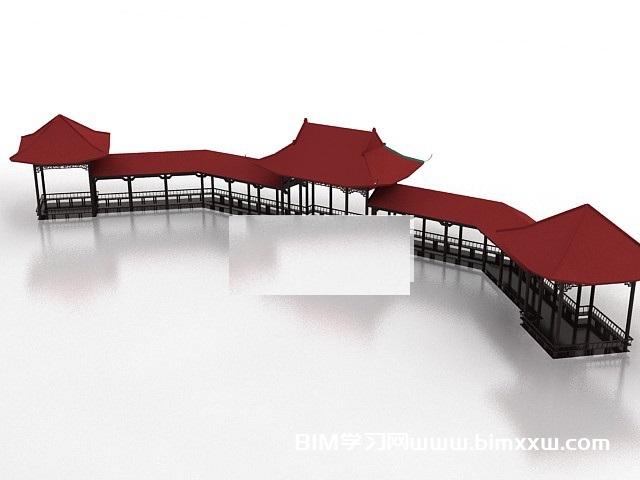 一套中式园林游廊设计3DMAX模型免费下载