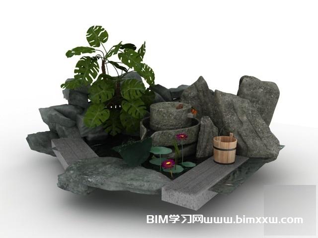 一套园林小品假山花池3Dmax模型免费下载