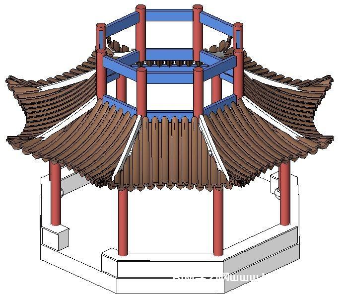 一套含文字教程CAD图纸八角双层凉亭revit模型