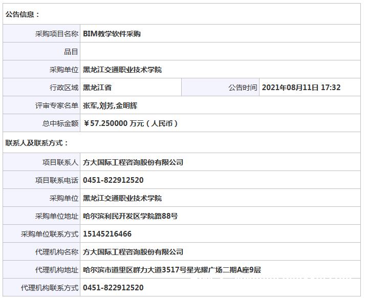 黑龙江交通职业技术学院BIM教学软件采购结果公告